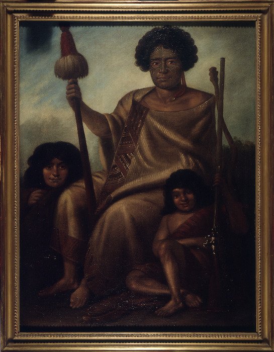 [Earle, Augustus] 1793-1838 :Portrait of Aranghi Tooker Chief of Cower Cower Bay of Islands, New Zealand, with his wife and son, painted at New Zealand. Augustus Earle - 27 Howland Street, Fitzroy Square