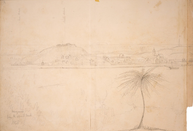 Collinson, Thomas Bernard 1822-1902 :Wanganui from the opposite bank. 1848. Town stockade. Middle stockade.