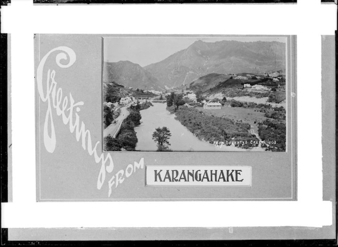 View of Karangahake from Doherty's Creek, ca 1910