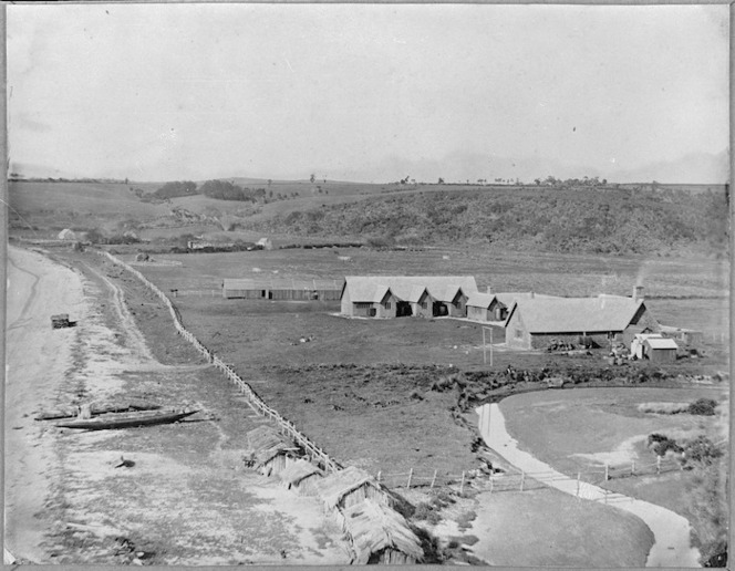 Scene at Kohimarama, Auckland, with Bishop Selwyn's Melanesian Mission station