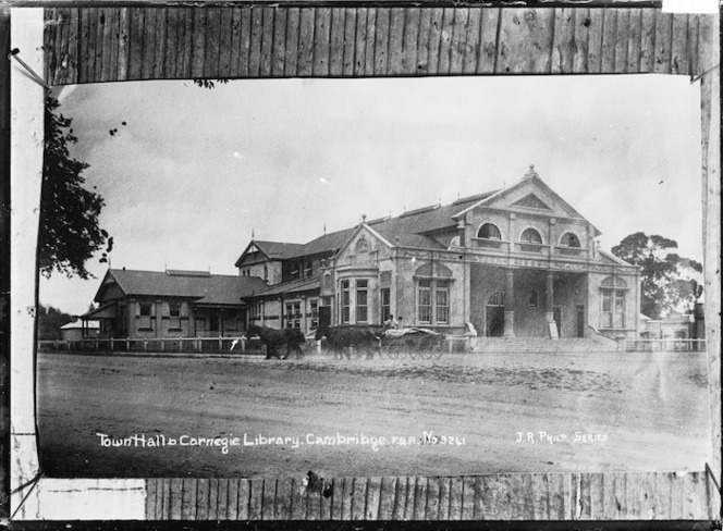 Town Hall & Carnegie Library, Cambridge, ca 1910s - Photograph taken by Frederick George Radcliffe