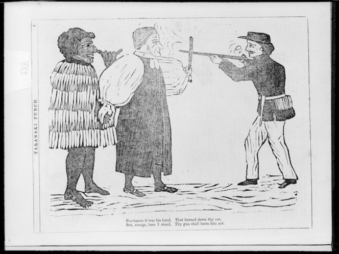 """Artist unknown :""""Perchance it was his hand, that burned down thy cot, But, savage, here I stand, Thy gun shall harm him not"""". [1860]"""