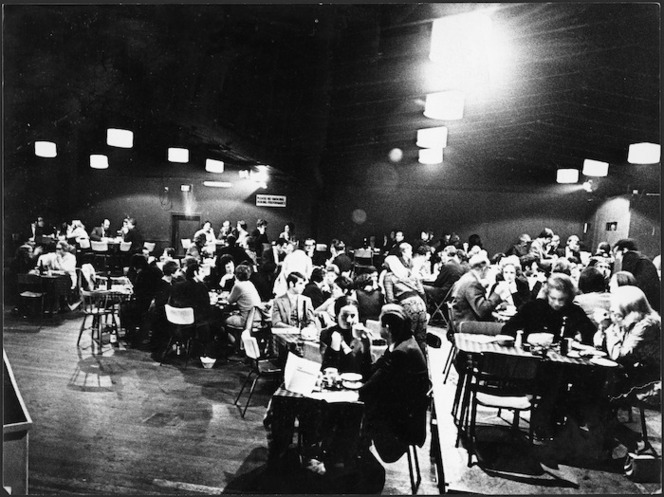 Theatre patrons at tables at Downstage Theatre, Wellington - Photograph taken by Warwick Teague