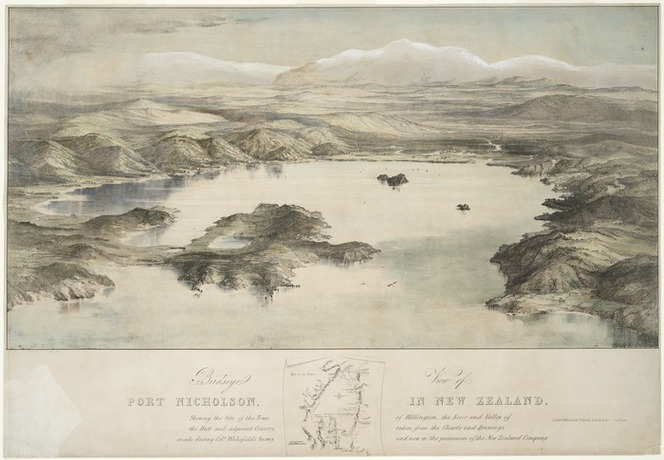 [Heaphy, Charles] 1820-1881 :Birdseye view of Port Nicholson, in New Zealand, shewing the site of the town of Wellington, the river and valley of the Hutt and adjacent country, taken from the charts and drawings made during Col[one]l Wakefield's survey, [1839] and now in the possession of the New Zealand Company. Drawn, lithographed by T. Allom [from a drawing by Charles Heaphy]. Printed by Hullmandel & Walton. London, Published by Trelawney Saunders, [1843?]