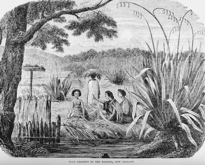 Illustrated Sydney News :Flax dressing by the Maories, New Zealand. 1865