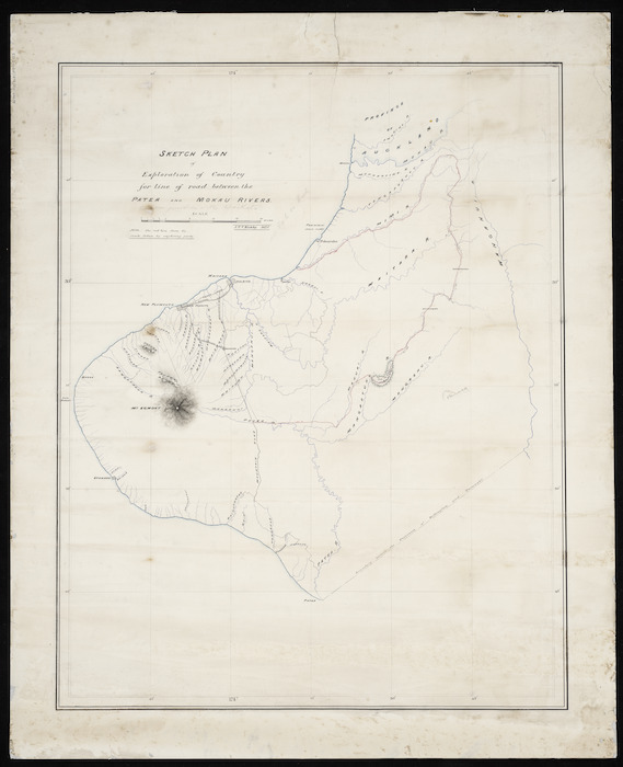 Kirkby, John Thomas Vaughan, -1911 :Sketch plan of exploration of country for line of road between the Patea and Mokau Rivers [ms map]. 1875