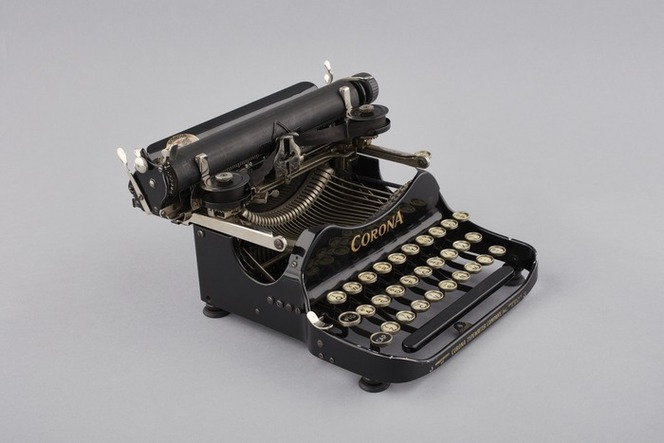 Corona Typewriter Company: Corona. Manufactured by Corona Typewriter Company Inc., Groton, N. Y., U. S. A. [Number] 3. [Typewriter formerly owned by Katherine Mansfield, manufactured 1920]