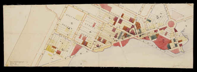 [Creator unknown]. [Rough map of Dunedin showing selections. no signature, 1853-4] [ms map]