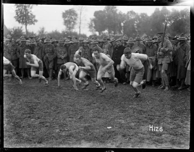Start of the 100 yards race at the New Zealand Division sports day in Doulieu, France during World War I