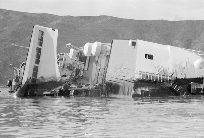 Ship Wahine on her side in Wellington Harbour, New Zealand