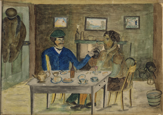 Artist unknown :[Two men seated at dining table, one possibly Maori, one Pakeha. 1850s?]