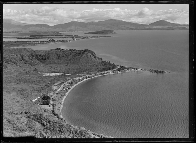 Aerial view of Motutere Point and Lake Taupo