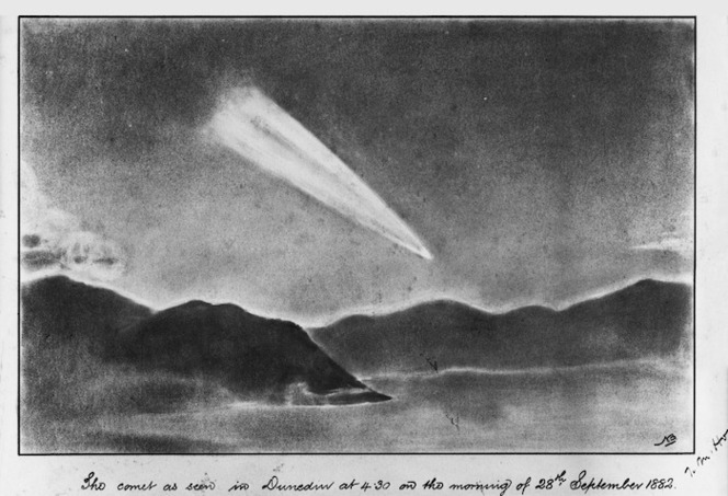 Artist unknown: The comet as seen in Dunedin at 4.30 on the morning of 28th September, 1882.