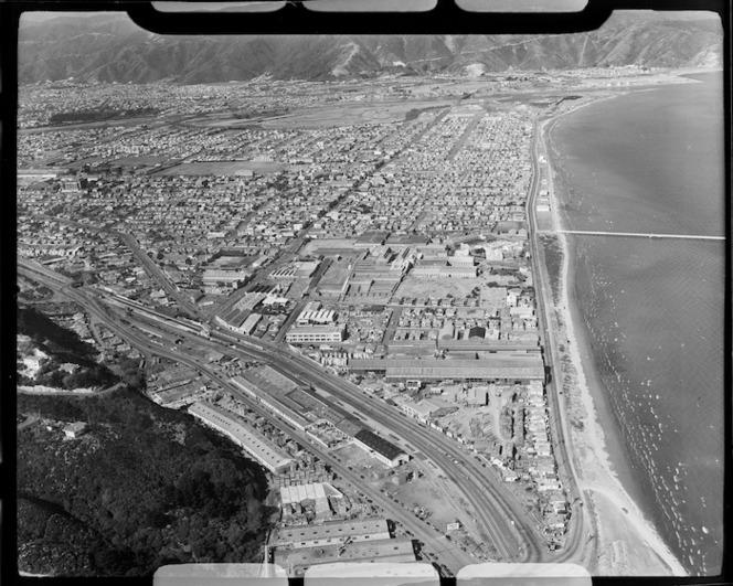 Aerial view of Petone, coastline, Lower Hutt