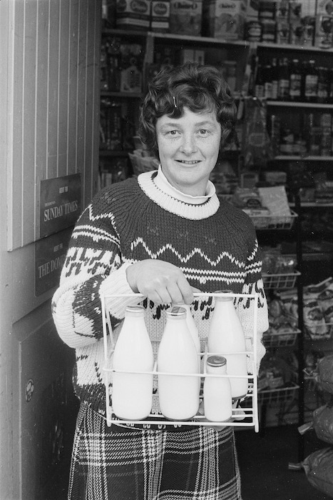 Mrs Janette Frost with bottles of milk