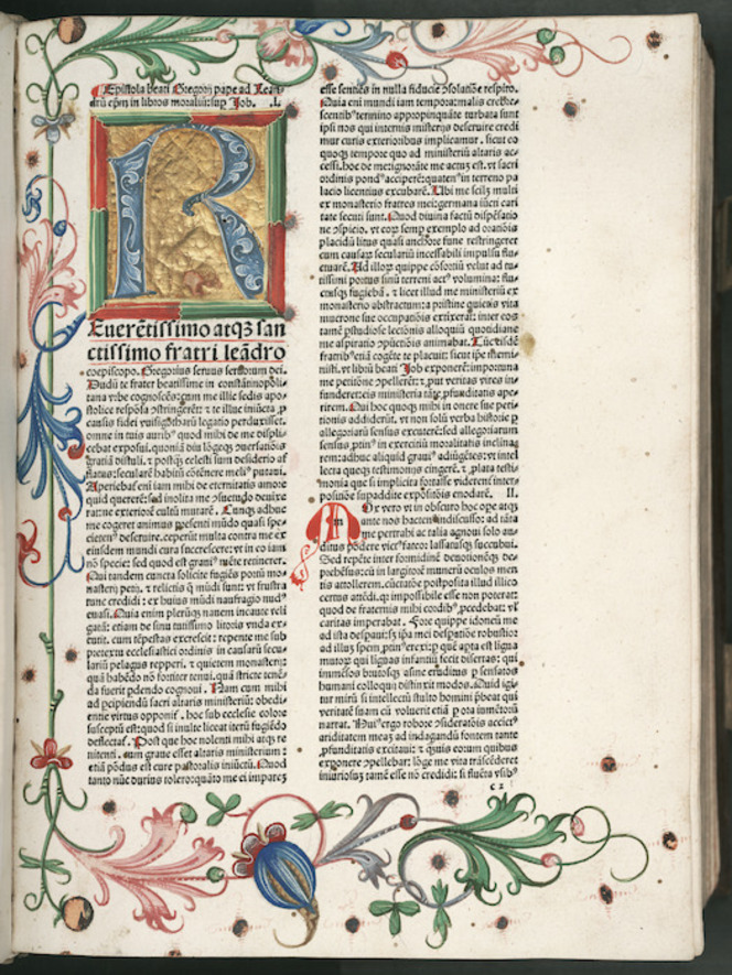 Illuminated letter R, with borders of the page decorated.