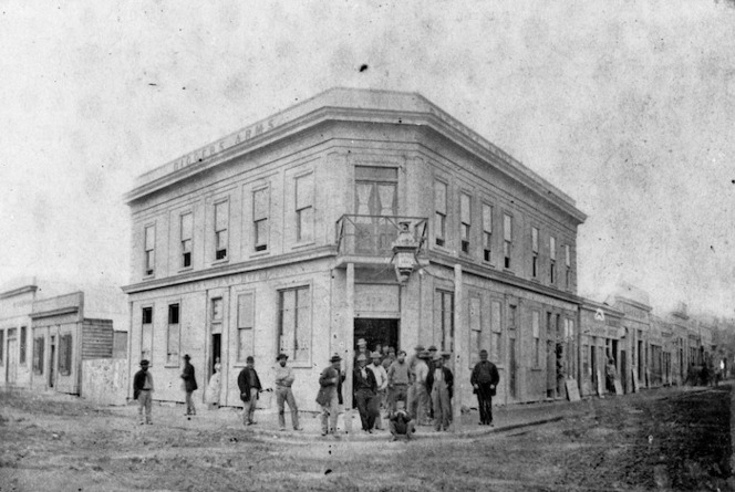 Tait Brothers: Digger's Arms Hotel in Hokitika, Westland, 1867.