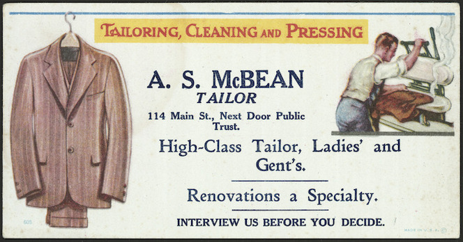 Alex S McBean, Tailoring, cleaning and pressing, 1925-1939