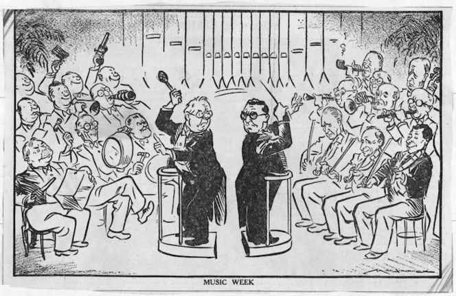 A cartoon scene in Parliament with the leaders of National (Sidney Holland) and Labour (Peter Fraser) each conducting their own band or orchestra of Members of Parliament.