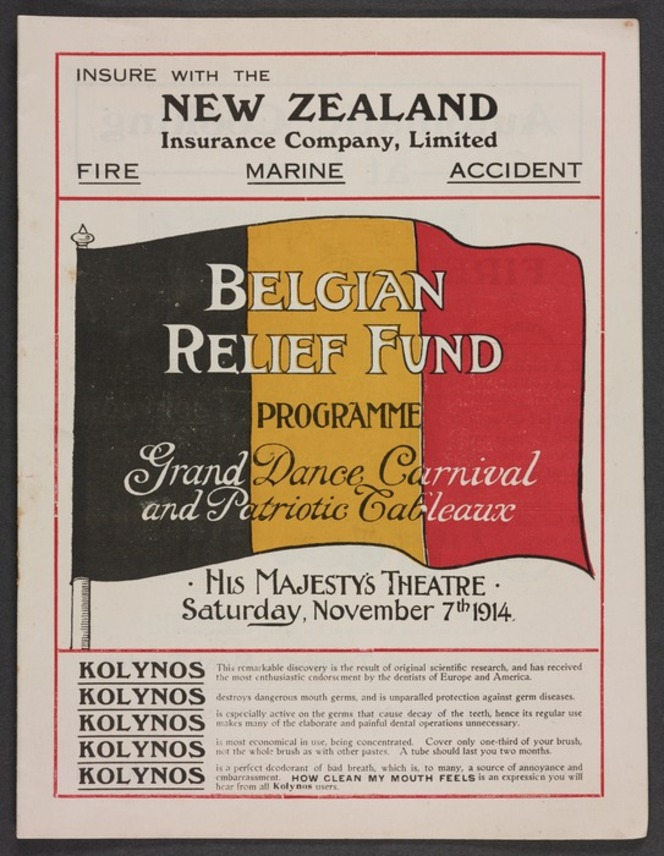 Cover of a programme for a Belgian Relief Fund event, including advertising information, and a large Belgian flag.