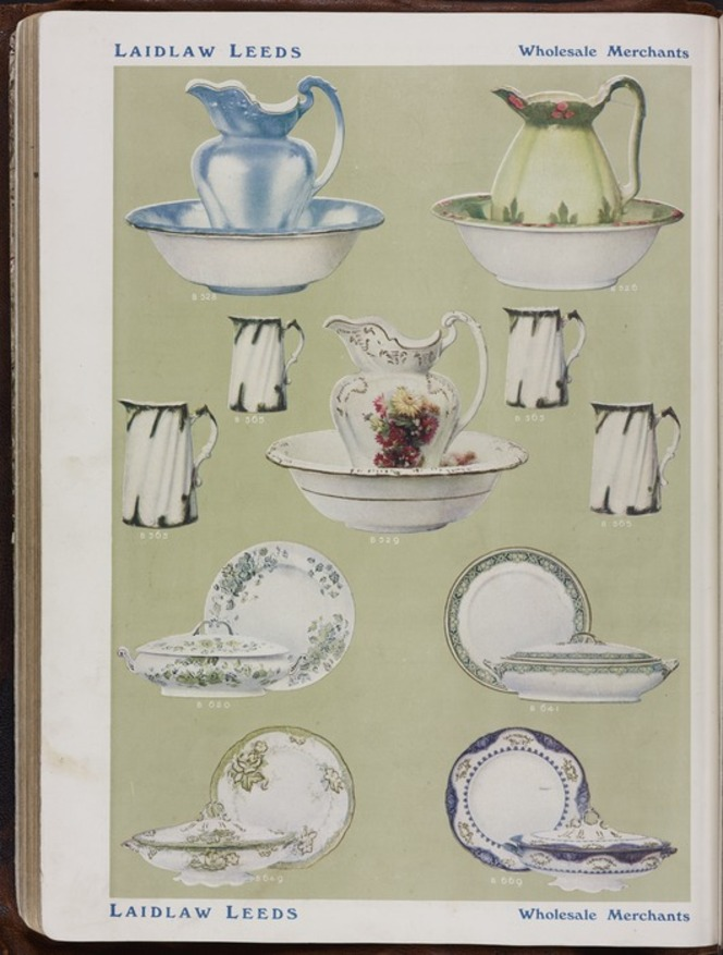 Colour plate in sales catalogue shows crockery and china 'selected from the best of English potteries'.