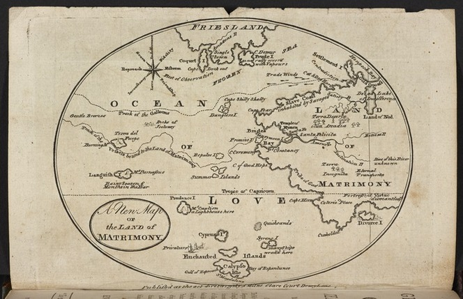 A fantastical map of the land of matrimony, including Divorce Island, Fortress of Virtue, and Cape Shilly Shally.