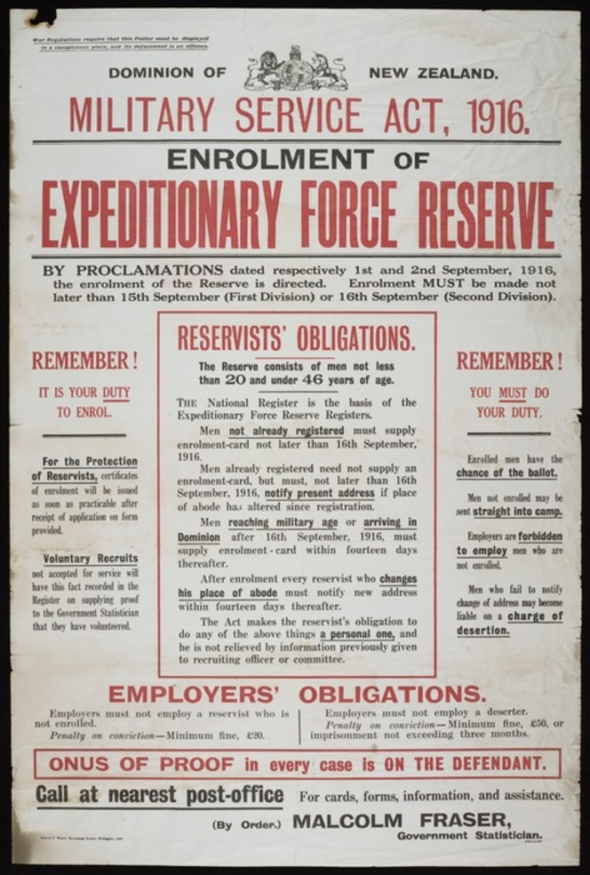 Poster for the Military Service Act 1916. Proclaims enactment, describes reservists' and employers' obligations, and describes the consequences for not enrolling.