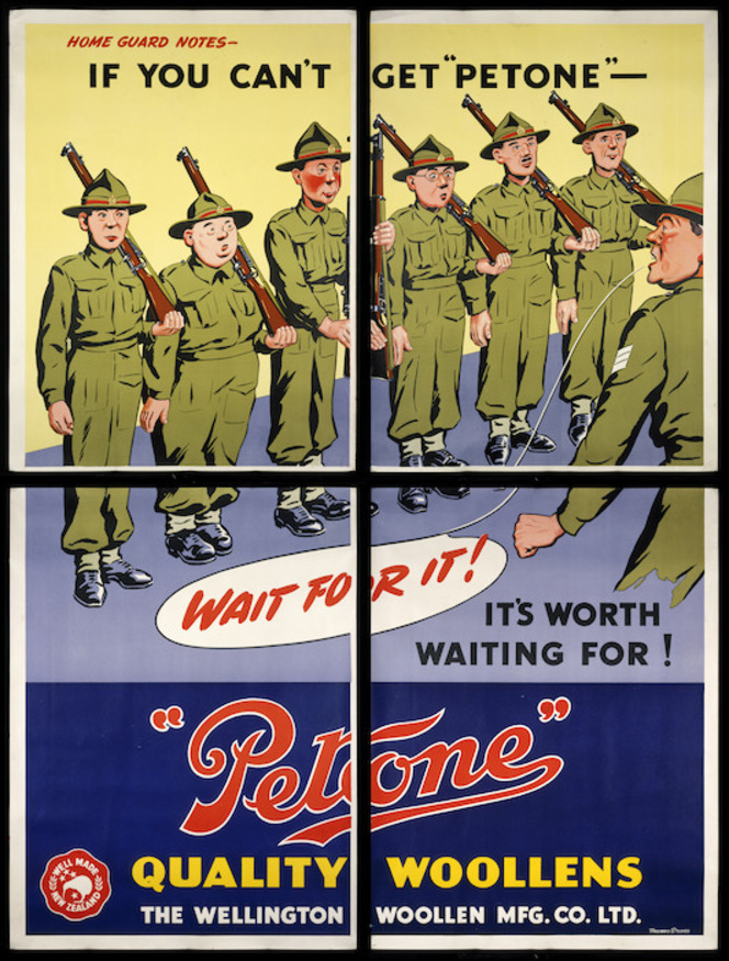 New Zealand Railways. Publicity Branch: Home Guard notes - If you can't get 'Petone', wait for it! It's worth waiting for!, 1940.