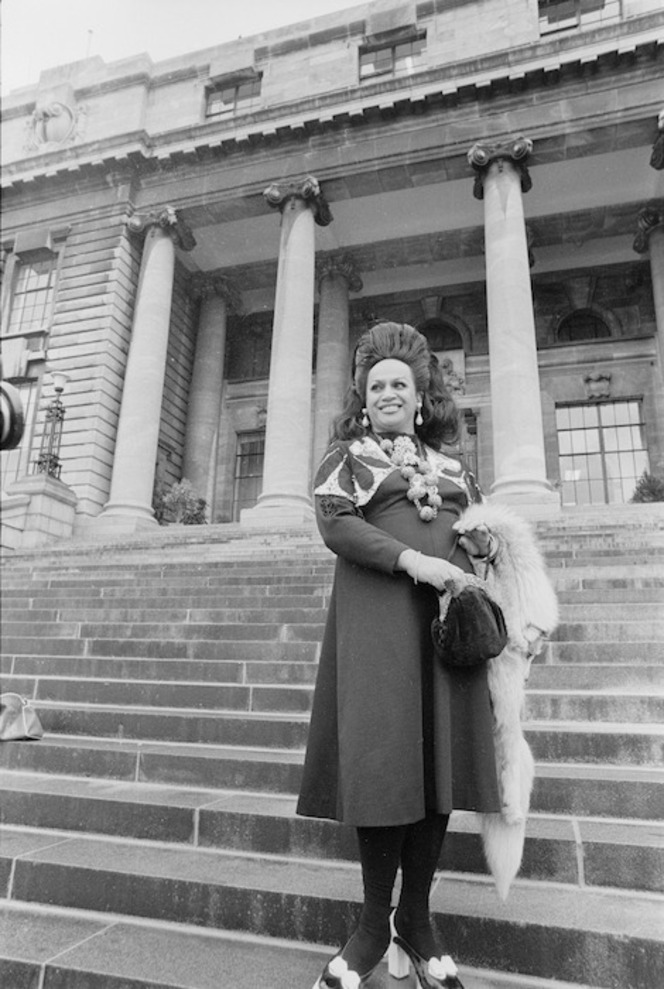 Carmen at Parliament steps, Wellington, 1975. Ref: EP/1975/2576/4A-F