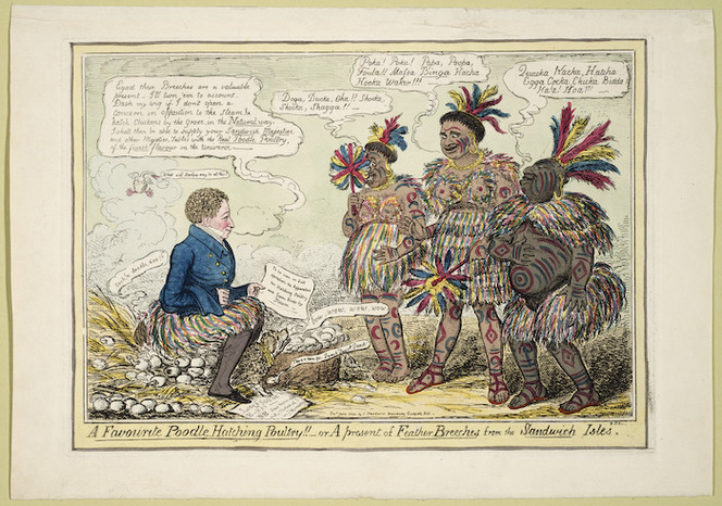 Cruikshank, Robert Isaac 1789-1856 :A favourite poodle hatching poultry!! - or A present of feather breeches from the Sandwich Isles. R C fecit. London, 1824