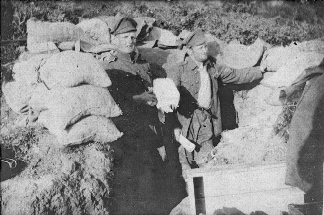 Christmas celebrations in dug-out, Gallipoli