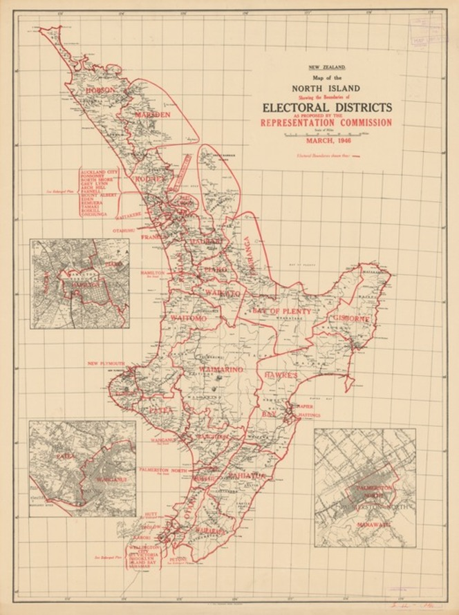 Map of the North Island showing the boundaries of electoral districts as proposed by the Representation Commission March, 1946.