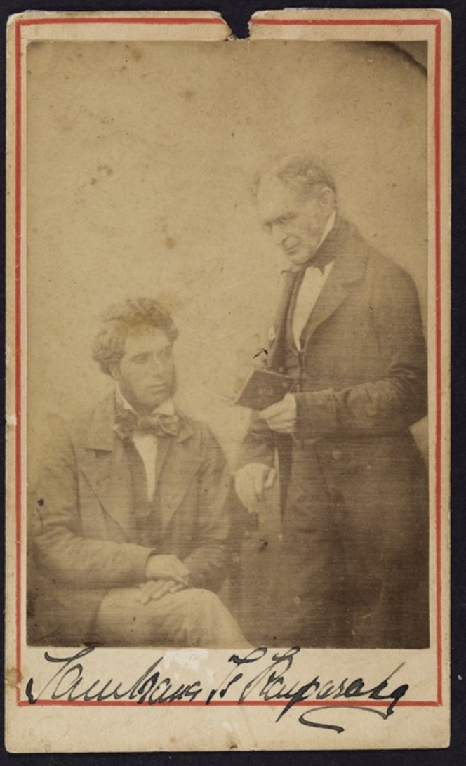 Photographer unknown :Portrait of Tamihana Te Rauparaha with an unidentified man