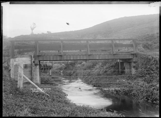 The Red Bridge, Te Mata, near Raglan, 1910 - Photograph taken by Gilmour Brothers