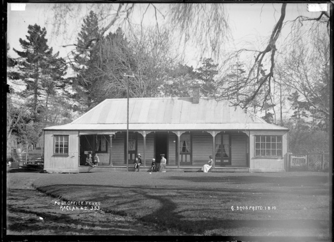 Te Uku Post Office, 1910 - Photograph taken by Gilmour Brothers