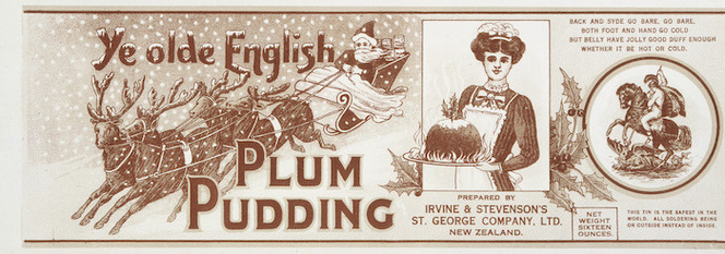 St George Preserving & Canning Company Ltd :Ye olde English plum pudding. [Can label. 1890s-1940s].