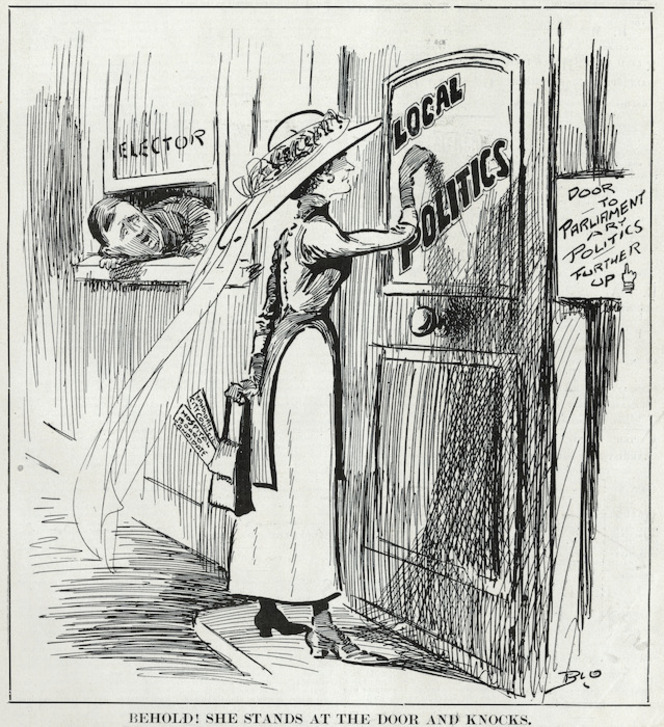 Blomfield, William, 1866-1938 :Behold, she stands at the door and knocks. New Zealand Observer April 1913.