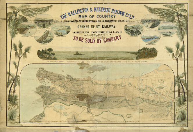 Falkner, A., fl 1880-1885 :The Wellington & Manawatu Railway Co. Ltd. Map of country between Wellington and Manawatu District opened up by railway, shewing townships & land to be sold by Company. A. Falkner delt. August 1885.