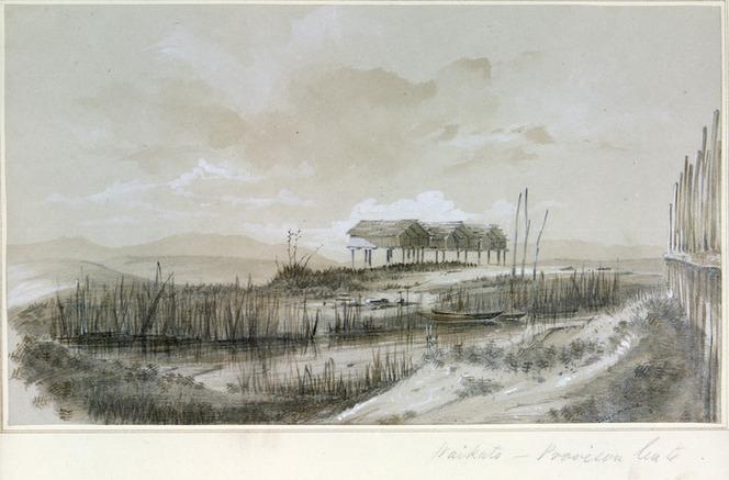 Mitford, John Guise, 1822-1854 :Waikato - Provision huts. [1844]