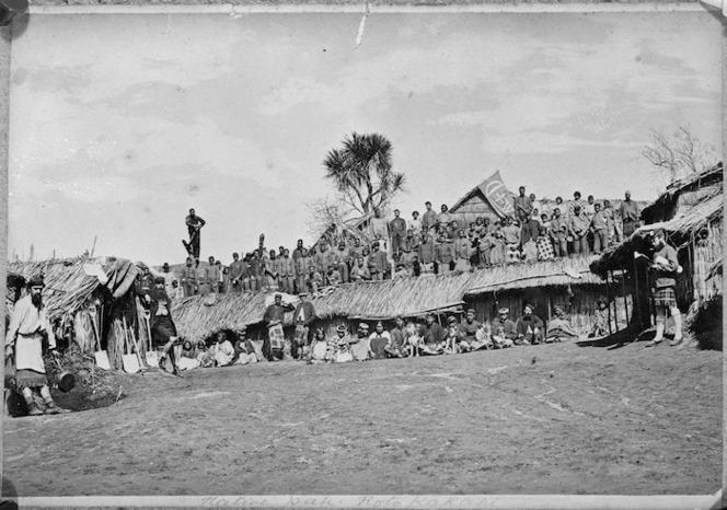 Captain Gilbert Mair and his Arawa Flying Column at Kaiteriria Pā, Rotokakahi