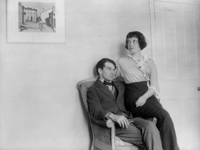Katherine Mansfield and John Middleton Murry at their home at Chaucer Mansions, Kensington, London.