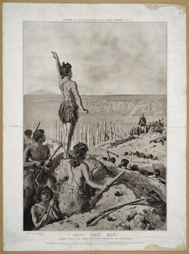 Rewi defying the British troops at Orakau. Wilson & Horton lith. Auckland, Wilson & Horton, 1893.
