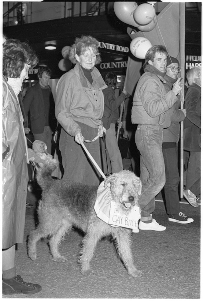 March supporting the Homosexual Law Reform Bill, Wellington, 1985\. Ref: EP/1985/2383/21-F