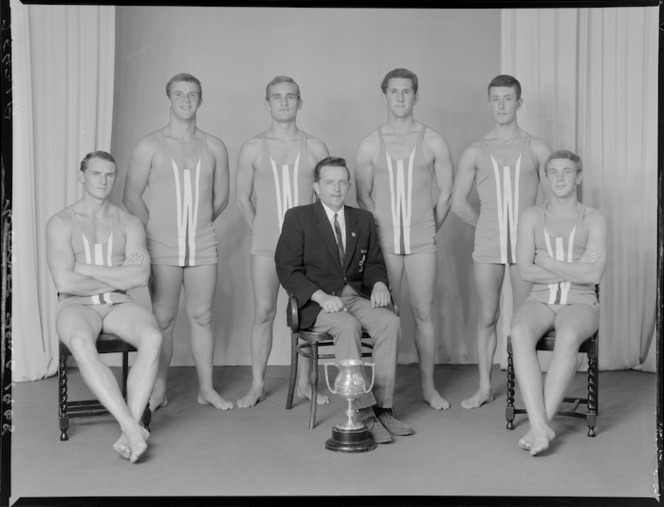 Worser Bay Amateur Swimming and Life Saving Club, Wellington, 6 man rescue and resuscitation senior team of 1967-1968, winners with trophy. Crown Studios Ltd: Negatives and prints. Ref: 1/1-036821-F. We have been unable to confirm if any of the men in this picture are those that helped during the Wahine rescue.