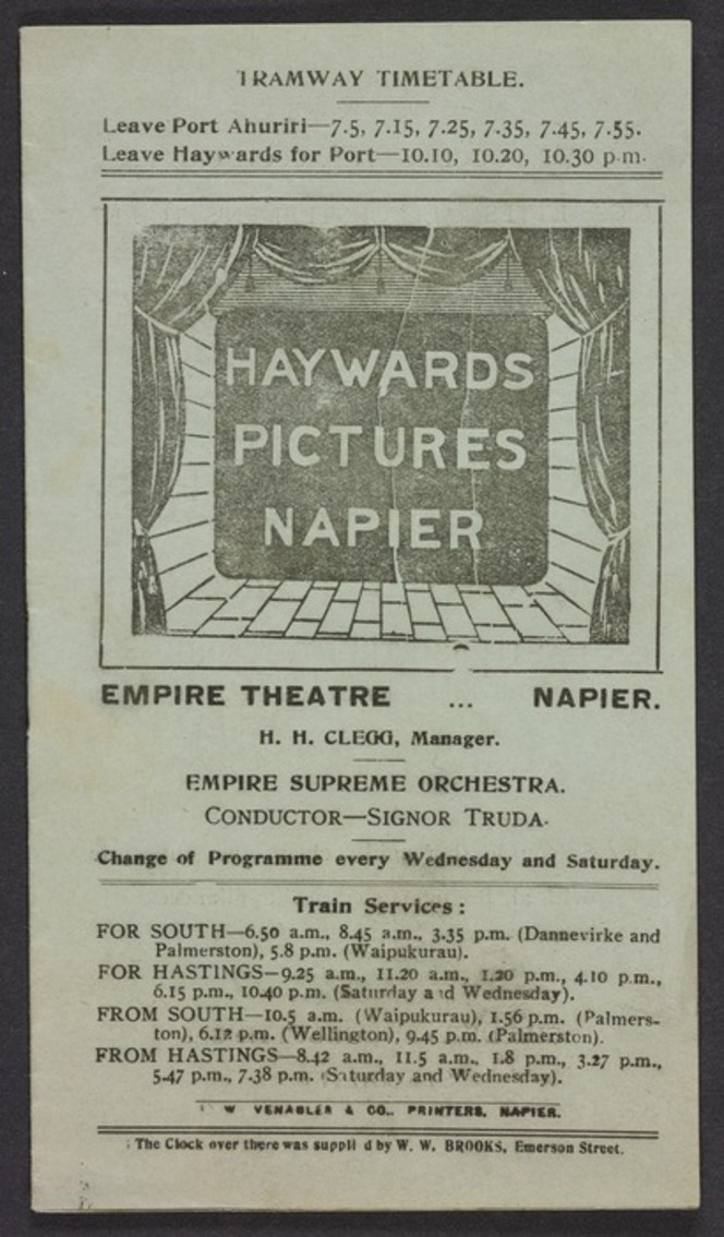 Programme lists films to be seen at the Empire Theatre, where live music was played by the Empire Supreme Orchestra conducted by Signor Truda.