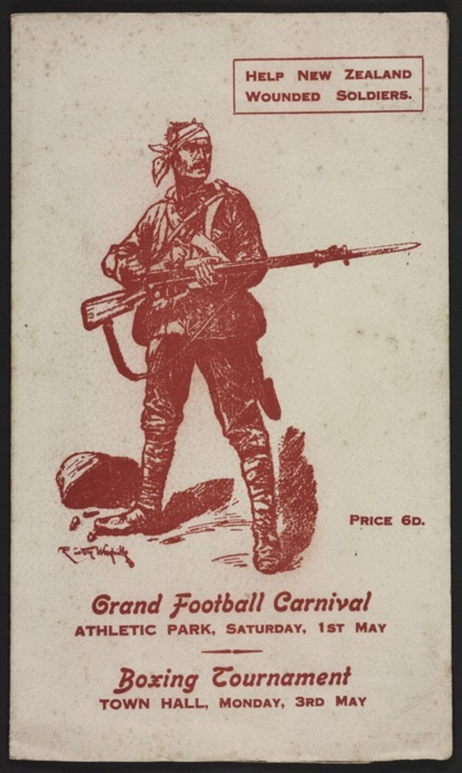 Front cover of a carnival programme, showing a reproduction of a sketch of a wounded soldier standing with his bayonet ready.