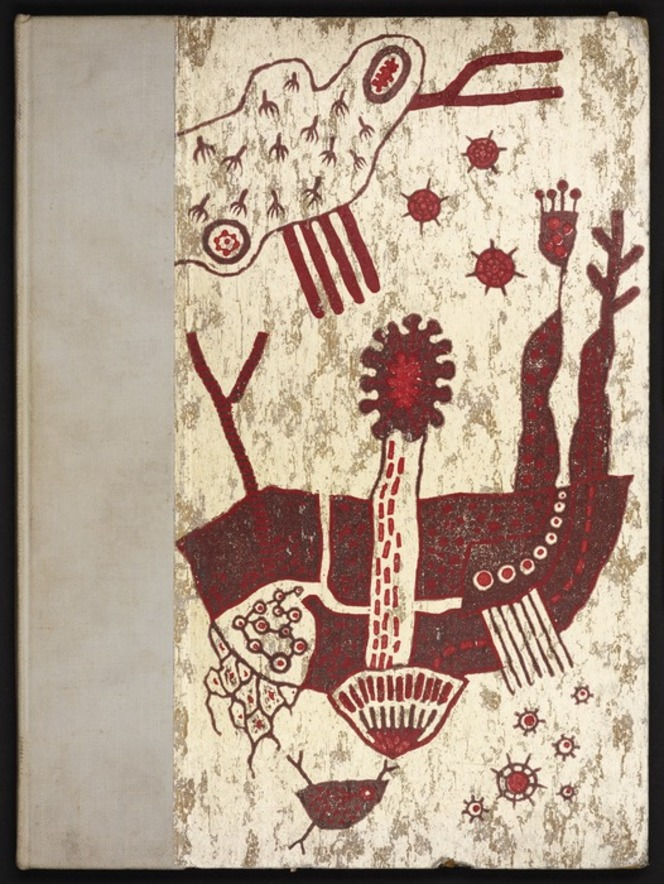 Endpaper with an abstract design based on tribal art.