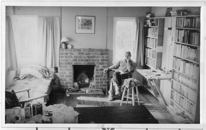 Frank Sargeson inside his house, 1947.