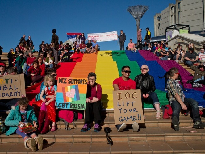 International Day of Solidarity for Global Queer Equality, Wellington, 2013\. Ref: PADL-000942