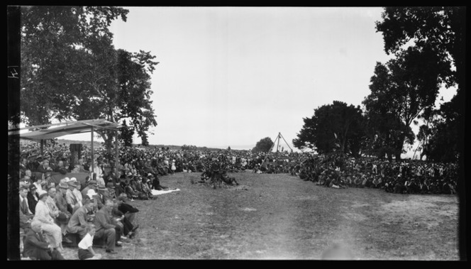 Crowd scene at Waitangi, 1934, showing Lord and Lady Bledisloe at left, Ref: Pan-0083